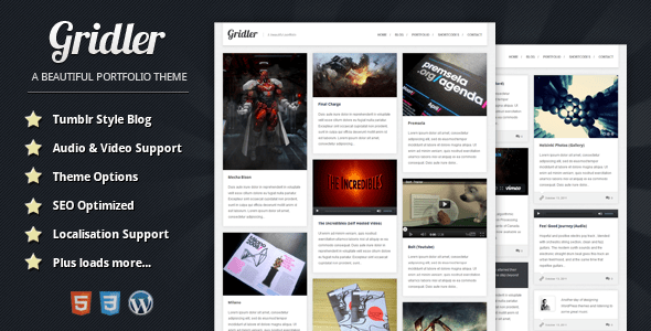01 Gridler.  large preview 10 Great Tumblr Style Themes for Wordpress