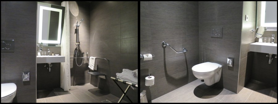 Hotel Pullman Brussels Midi PMR Disabled wheelchair salle de bain bathroom