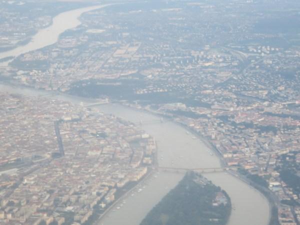 View Budapest Danube plane