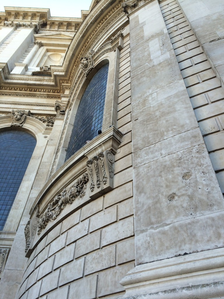Shrapnel marks on St. Paul's Cathedral, scars of the Blitz.