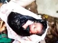 ゴミ捨て場に他のゴミと一緒に捨てられていた新生児がみつかる(´・_・`)
