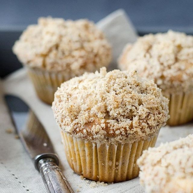 Cinnamon muffins with apples cooked in Calvados and cardamom toppedhellip