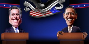 A political caricature of President Obama and Mitt Romney.