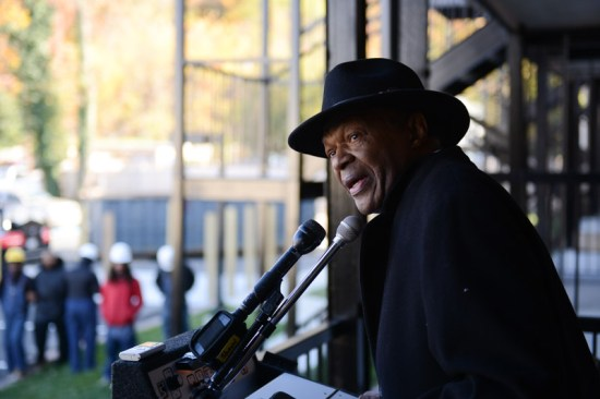 Marion Barry at the opening of the first phase of an affordable housing development in the Anacostia section of Southeast D.C.