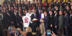 President Obama with members of the Alabama Crimson Tide.