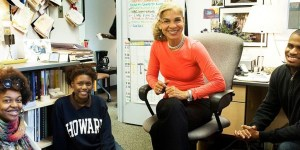 Howard University students are constantly in and out of Carol Dudley's office in Career Development at the Cathy Hughes School of Communications.