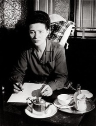 Simone de Beauvoir writing cafe