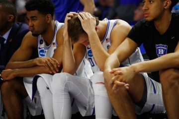 GREENVILLE, SC - MARCH 19:  Luke Kennard #5 of the Duke Blue Devils reacts on the bench in the second half against the South Carolina Gamecocks during the second round of the 2017 NCAA Men's Basketball Tournament at Bon Secours Wellness Arena on March 19, 2017 in Greenville, South Carolina.  (Photo by Gregory Shamus/Getty Images) ORG XMIT: 686516041 ORIG FILE ID: 655394286