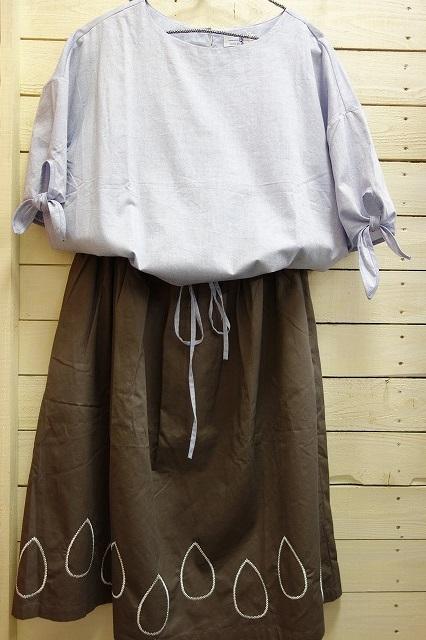 おすすめコーデ ⑤ ポンデシャロン ノーカラーブラウス ¥7300+税(SALE)              + LUEF  しずく刺繍スカート ¥6300+税(SALE)