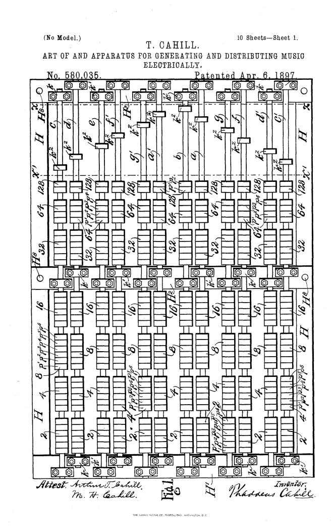 Thaddeus Cahill's patent documents for the first Telharmonium of 1897