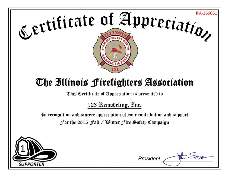 123 Remodeling Supports The Illinois Firefighters