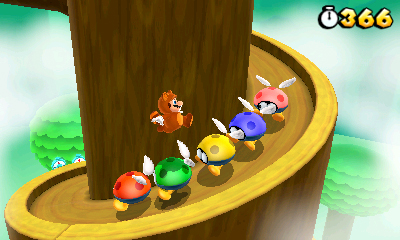 Tanooki-Mario floating over some enemies. (Image from mario.nintendo.com free image)