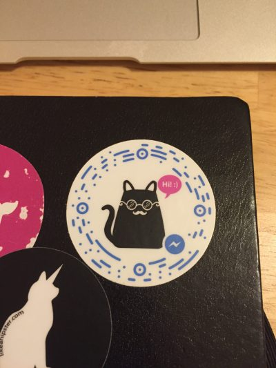 Mica, the hipster cat bot, scannable sticker