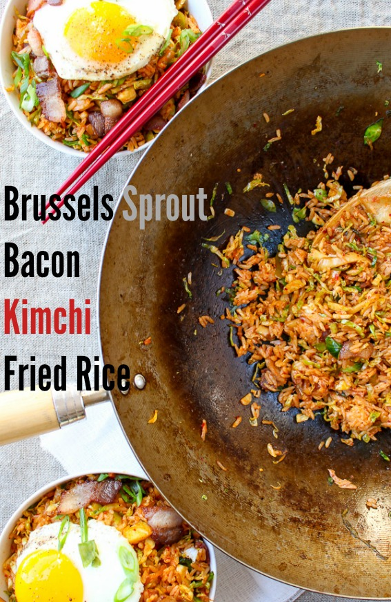 This Brussels Sprout Bacon Kimchi fried rice is a perfect one pot meal that can be made quickly and is everything hearty, warm, and satisfying. Sooo YUM www.kimchichick.com