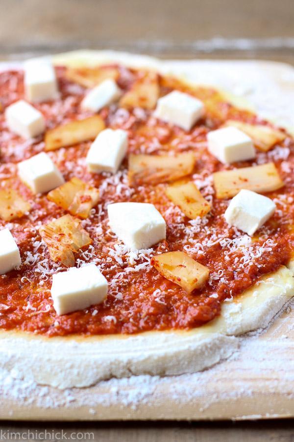 Kimchi Prosciutto Pizza Kimchi topping