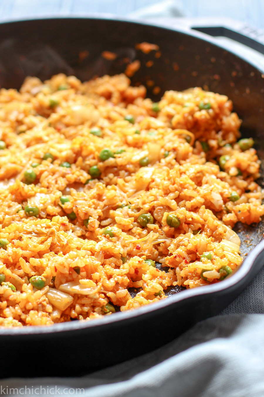 Easy 10-minute kimchi fried rice is simple to make, spicy, savory, and addicting!! |www.kimchichick.com