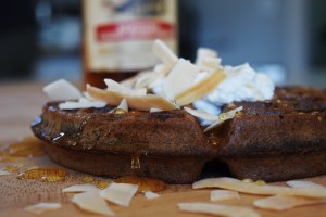 Buckwheat Whiskey Waffles With Coconut Cream Toasted Coconut Chips and Honey http://17thstreetkitchen.com/wp-content/uploads/2016/07/DSC_0201-2.jpg