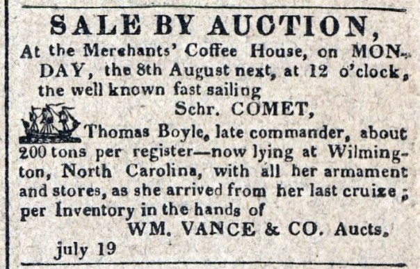 American Commercial and Daily Advertiser, July 19, 1814. Maryland State Archives SC3392