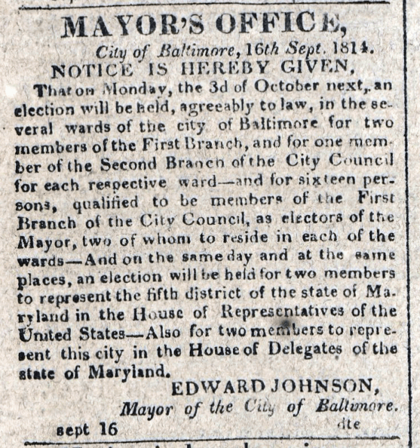 American Commercial and Daily Advertiser, September 16, 1814. Maryland State Archives, SC3392.