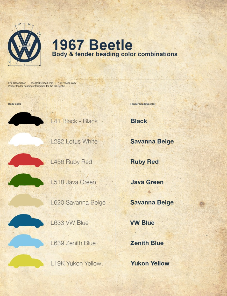 '67 Volkswagen Beetle — Correct Fender Beading Color Combinations