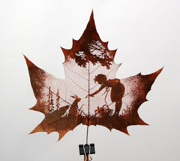 Natural Leaf Carving Art