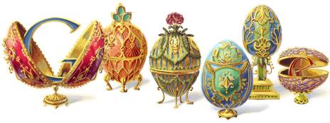 Google doodles : Peter Carl Fabergé's 166th Birthday