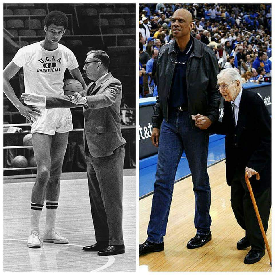 Kareem Abdul Jabbar and John Wooden then and now