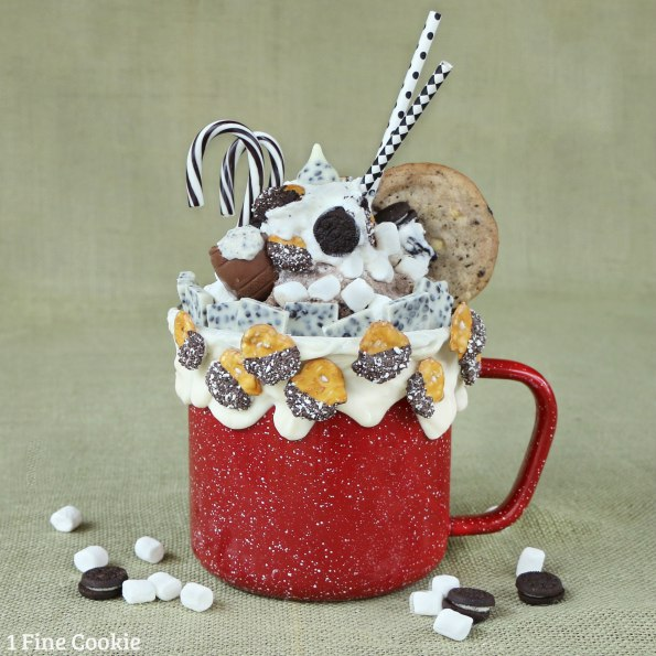 blender, frozen hot chocolate, frozen, super, crazy, shake, milkshake, hot, chocolate, cookies and cream, oreo, cookie, candy, marshmallow, winter, christmas, hanukkah, recipe, whipped cream, oreo candy canes, mini pretzels, oreo egg, candy cane, giant, beverage, drink,