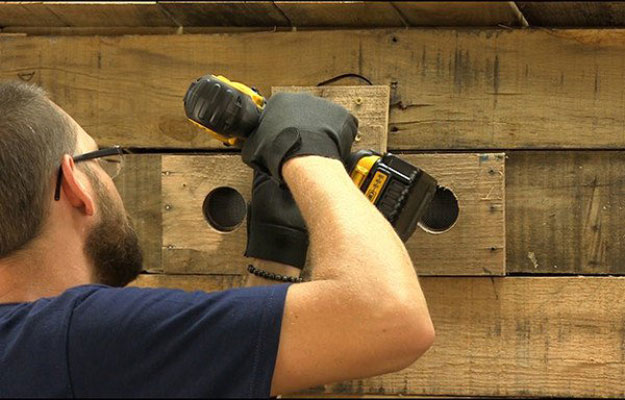 Cut Vent Holes | Build A Homemade Pallet Smoker