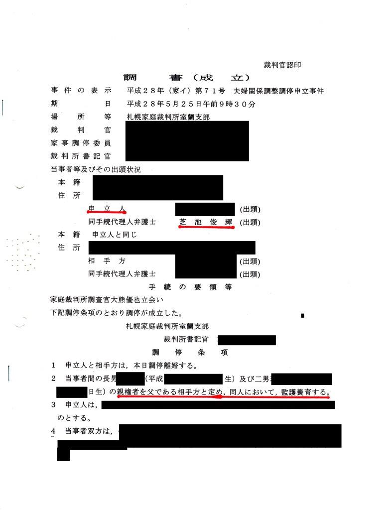 芝池俊輝弁護士が敗訴した、親権・監護権が父親に認められた裁判記録