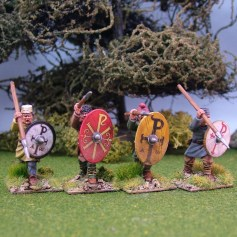 Warriors, unarmoured, attacking, caps, spears (4)