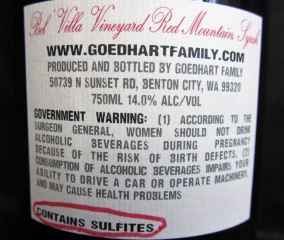 Wine label with the caption 'contains sulfites'