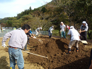 Volunteers help spread the soil, create furrows, and plant seeds on farmland in Otonari and Onagawa.