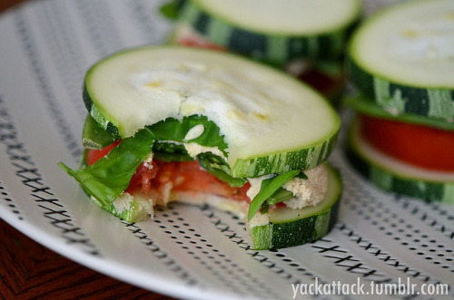Raw Zucchini Squash Sandwiches with Sprouted Hummus!<br /><br /> This dish makes a great lunch or dinner, and you can really customize it to whatever veggies you have on hand. The squash is FROM MY GARDEN (and huge), and for the filling I used Homemade Sprouted Chickpea Hummus, sugar snap peas, tomato slices, and fresh basil with a lil' sea salt and ground pepper for seasoning. It was incredibly satisfying and nutritious!