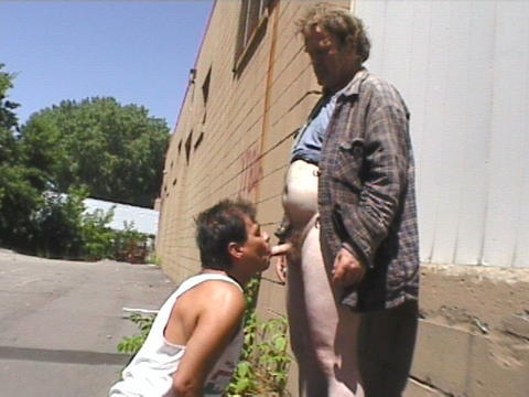 brunette fucks older man in van