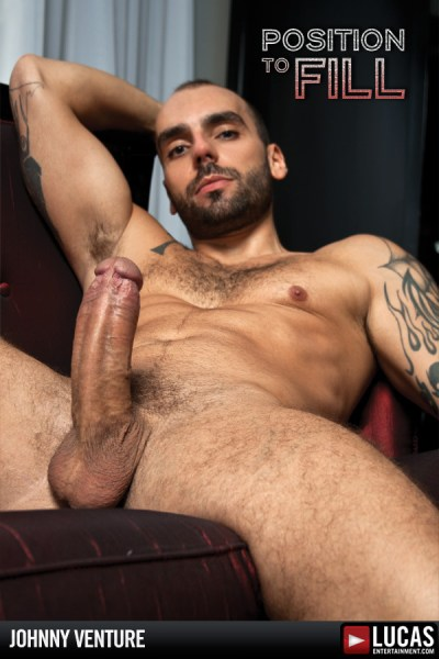 Gay porn star Johnny Venture fucks Dominic Pacifico in Lucas Entertainment's Position To Fill.