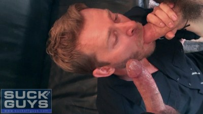 Ethan Ever in a double blowjob, double facial gay porn scene with Aaron French and Seth Chase.