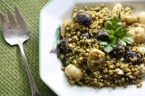 Potato and Lentil Salad with Cilantro Pesto