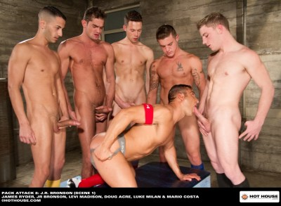 Gay porn star JR Bronson with Doug Acre, James Ryder, Levi Madison, Luke Milan and Mario Costa in Pack Attack 8.