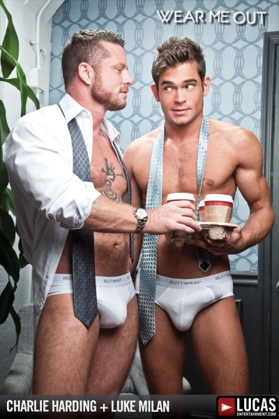 Charlie Harding and Luke Milan have hot hardcore sex in suits.