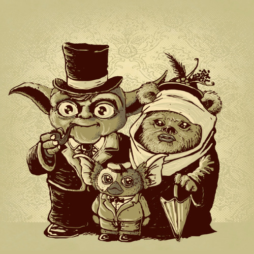 justinrampage:Father Yoda, his Ewok wife and their son Gizmo get together for a family photo in this awesome shirt design by Vincent Bocognani. Vote at Threadless!Related Rampages: The True Story | Ice Planet (More)a (very) long time ago by Vincent Bocognani  / vintz (Threadless)