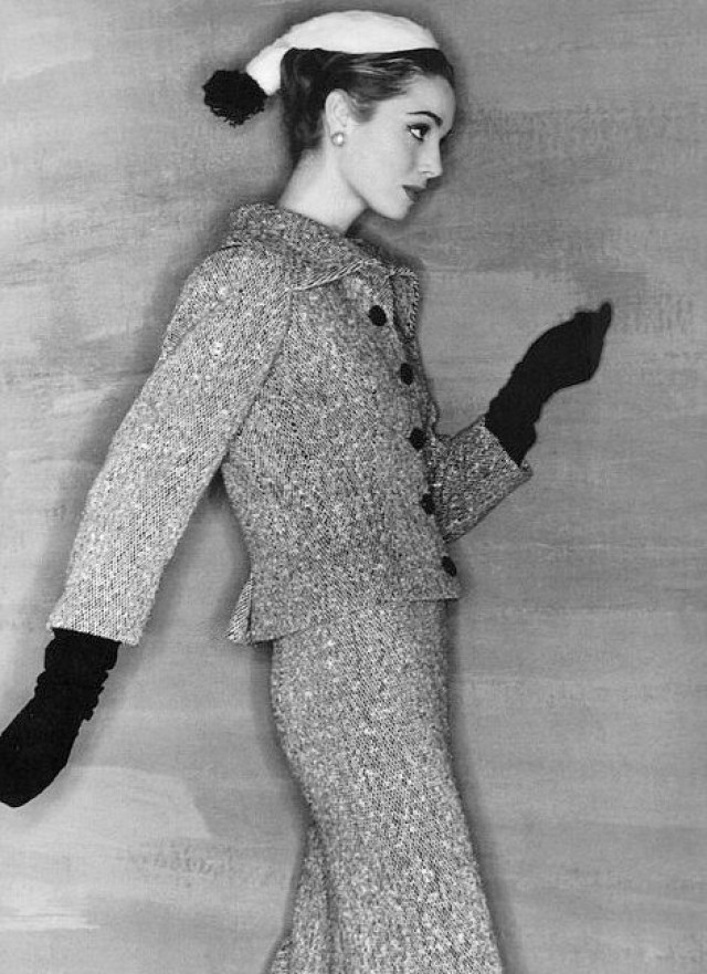 Vogue France, 1954Photographer: Clifford CoffinModel: Elsa MartinelliTweed suit by Balenciaga
