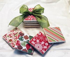 Beautiful Stone Christmas Coasters on eBay