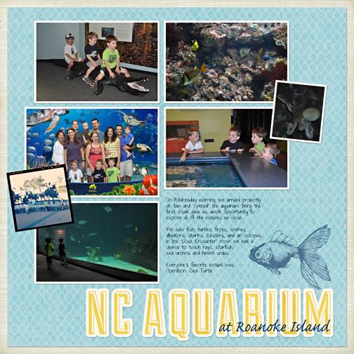 NC Aquarium at Roanoke Island digital scrapbooking page