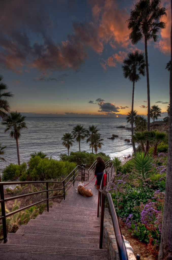 Watching a colorful sunset in Laguna Beach