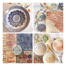 Beautiful textured work at 2Spots Adult pottery classes