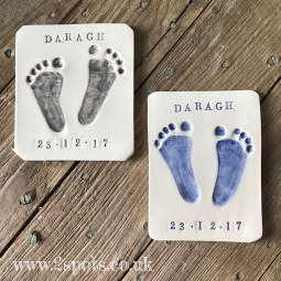 Grey and Blue Stamped Imprint Tiles