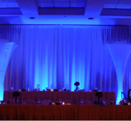 Blue Up Lighting, with White Cake Table Under Light - add excitement