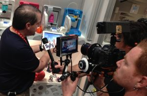 Micheel Kintner founder of 360 Heros is interviewed by SyFy TV Network at CES in 3DSystems booth.