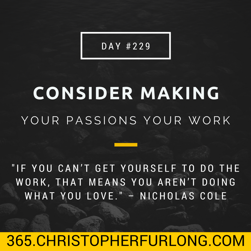 Day #229: Might You Consider Making Your Passion Your Work?